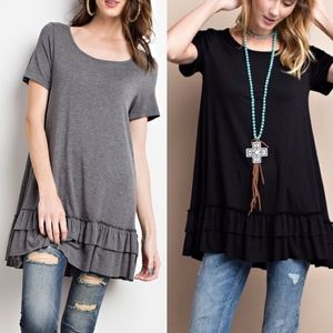 ISABELLA loose fit ruffle tunic top - MID GREY